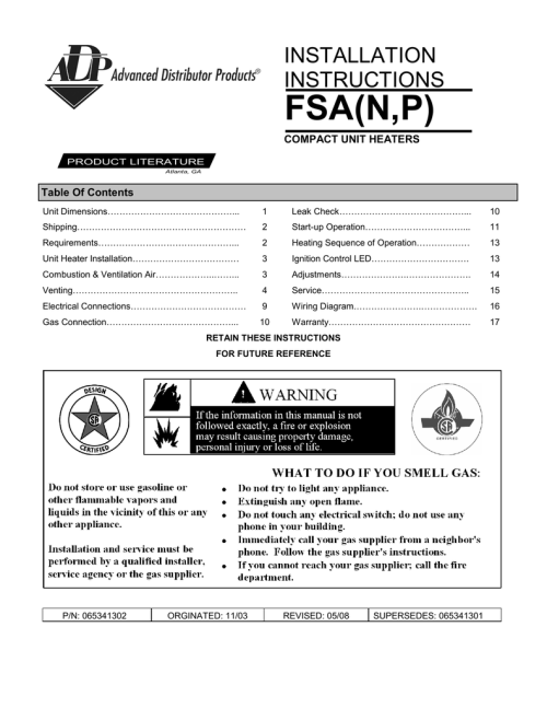 small resolution of installation instructions fsa n p compact unit heaters product literature atlanta ga table of contents unit dimensions 1 leak check