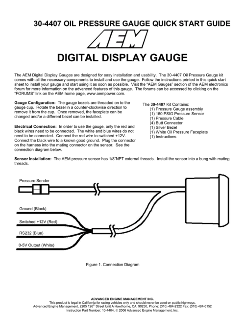 small resolution of digital display gauge aem oil pressure sensor wiring