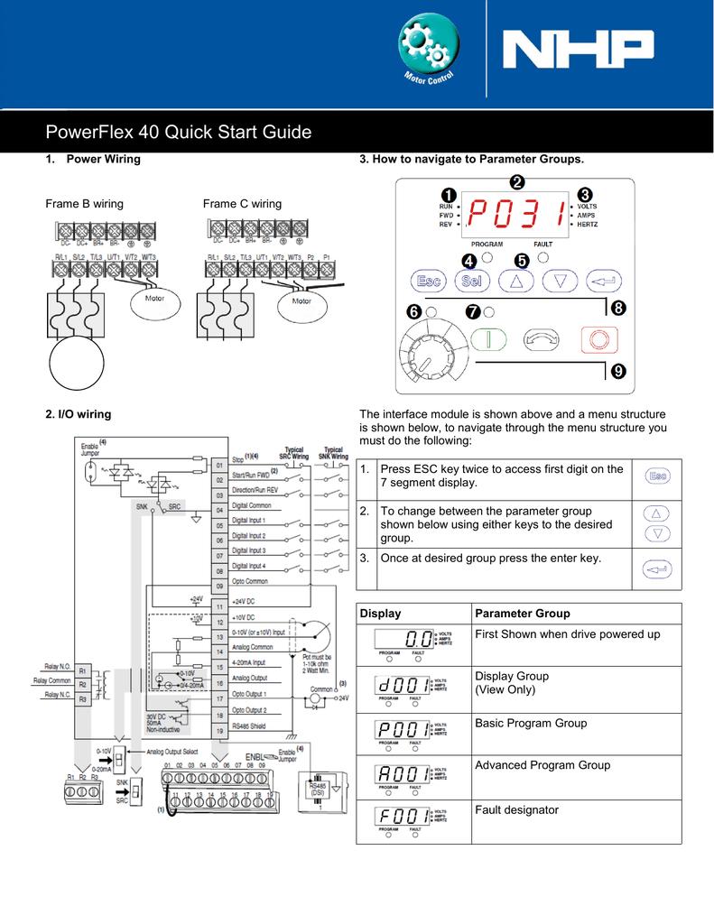 hight resolution of powerflex 40 quick start guidepowerflex 40 quick start guide 1 power wiring frame b wiring 2