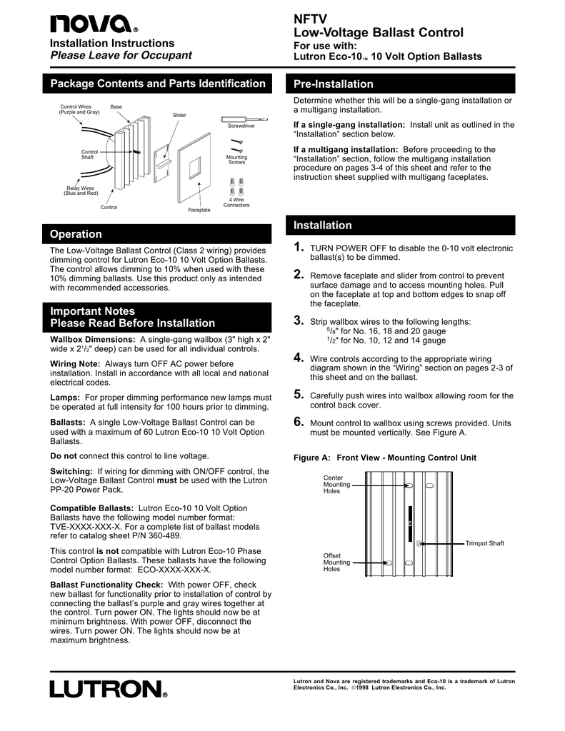 medium resolution of nftv low voltage ballast control installation instructions please leave for occupant for use with lutron eco 10 10 volt option ballasts package contents