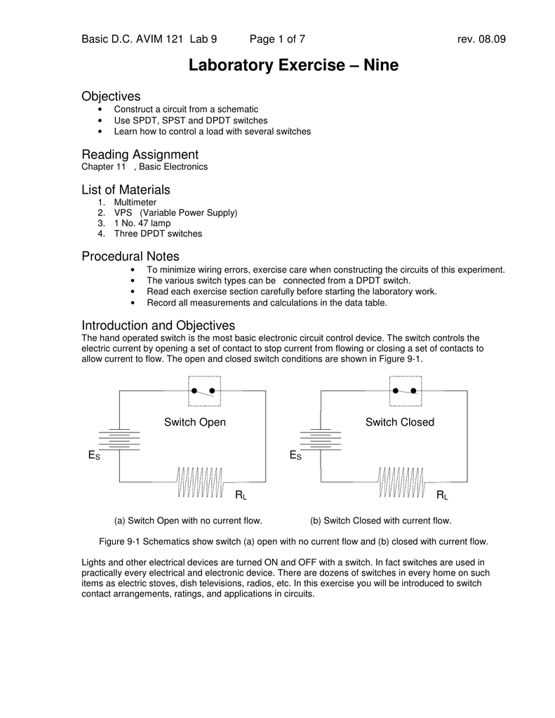 medium resolution of 08 09 laboratory exercise nine objectives construct a circuit from a schematic use spdt spst and dpdt switches