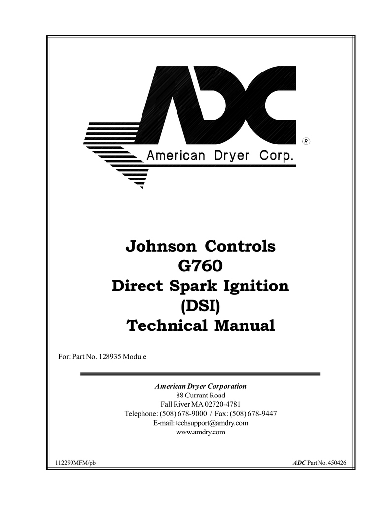 Johnson Controls G760 Direct Spark Ignition