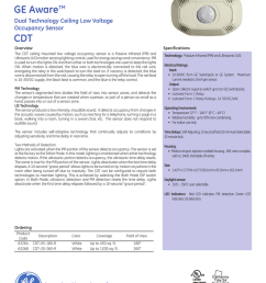 ge lighting controls ge awaretm dual technology ceiling low voltage occupancy sensor cdt overview specifications the cdt ceiling mounted low voltage  [ 791 x 1024 Pixel ]