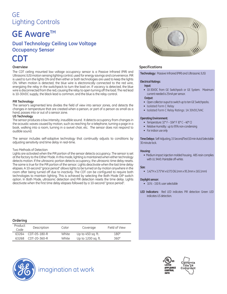 medium resolution of ge lighting controls ge awaretm dual technology ceiling low voltage occupancy sensor cdt overview specifications the cdt ceiling mounted low voltage