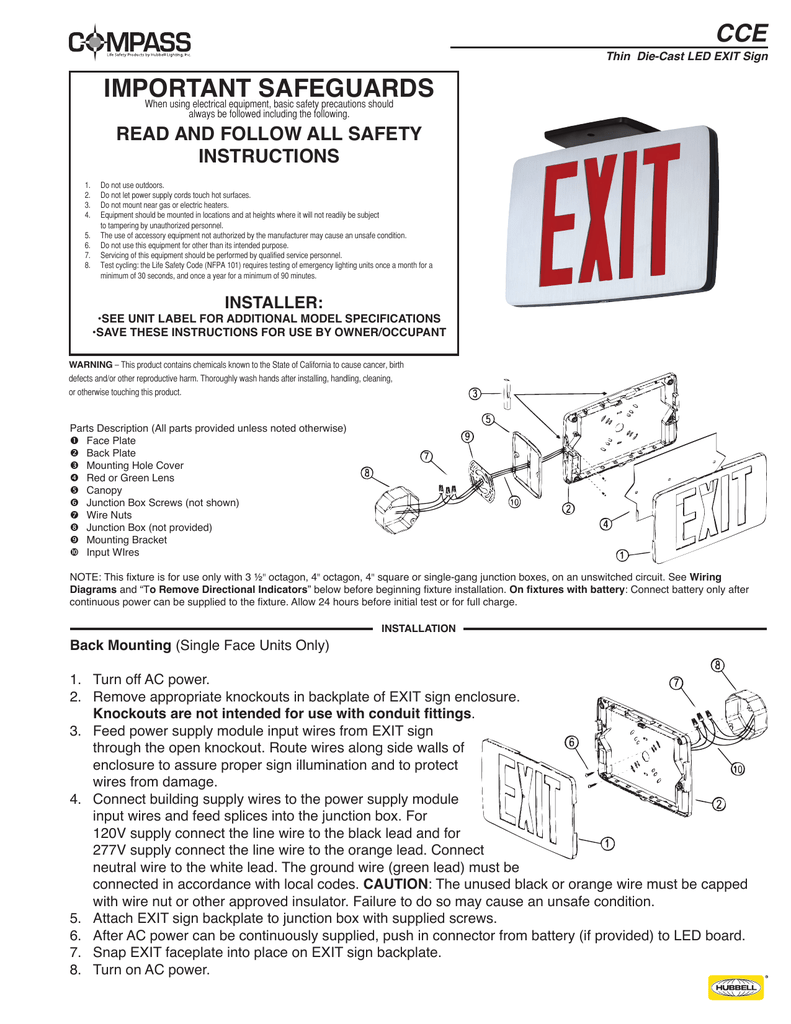 hight resolution of important safeguards compass lighting productsled exit sign wiring diagram 18