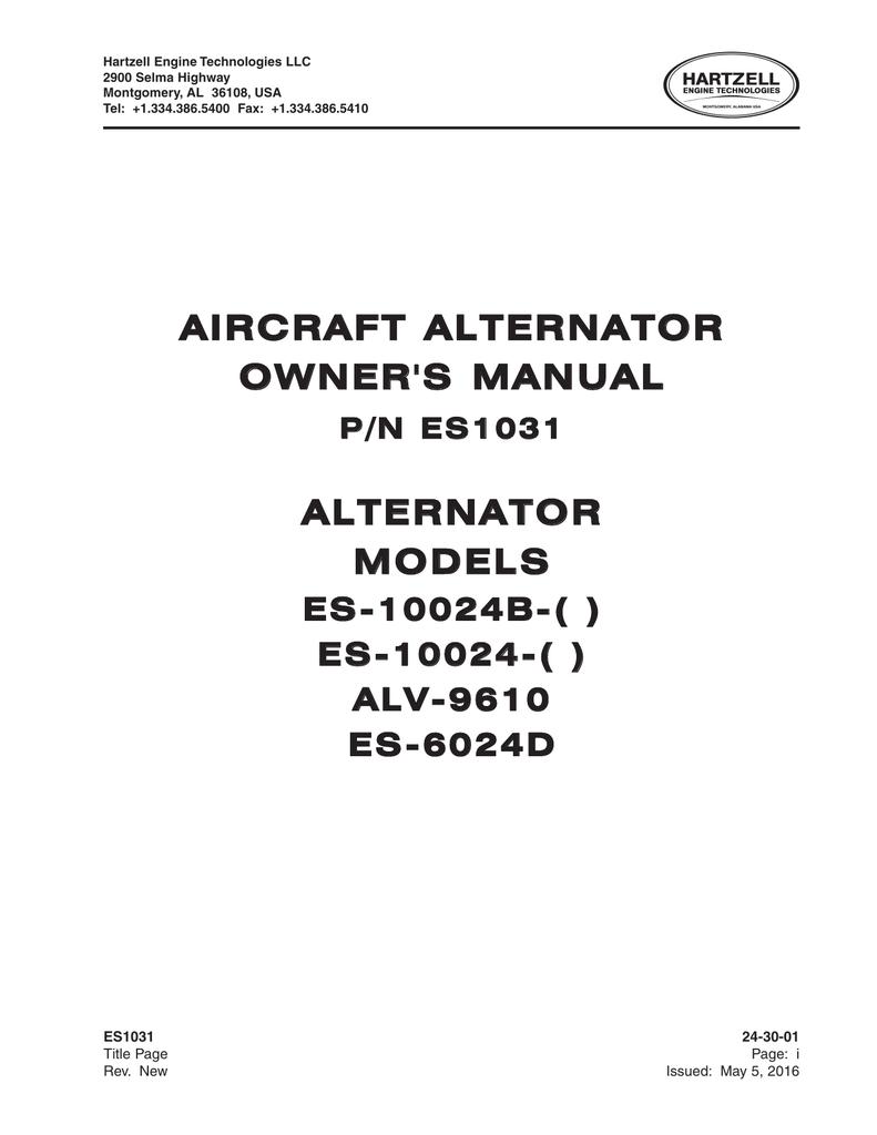 AIRCRAFT ALTERNATOR OWNER`S MANUAL ALTERNATOR