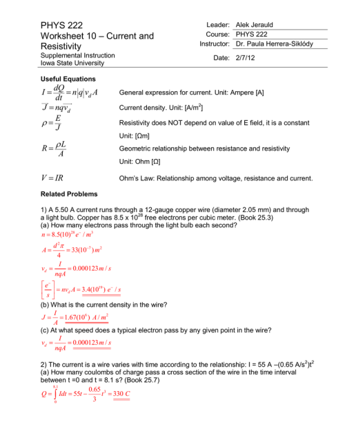 small resolution of phys 222 worksheet 10 current and resistivity answers
