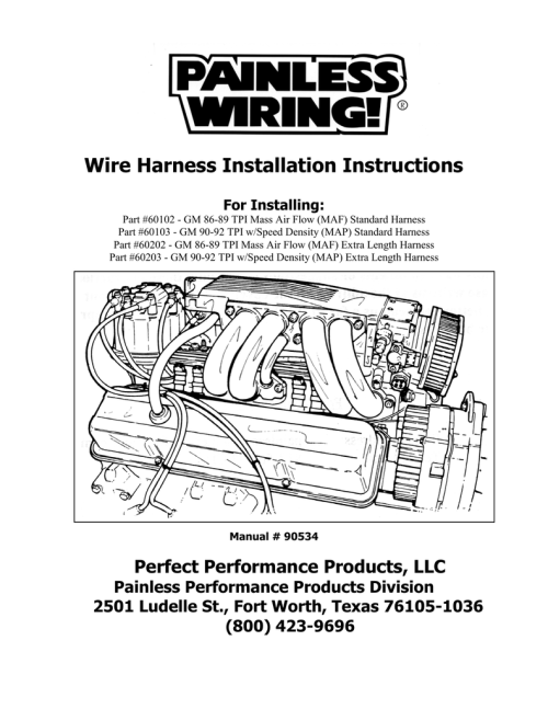 small resolution of wire harness installation instructions for installing part 60102 gm 86 89 tpi mass air flow maf standard harness part 60103 gm 90 92 tpi w speed