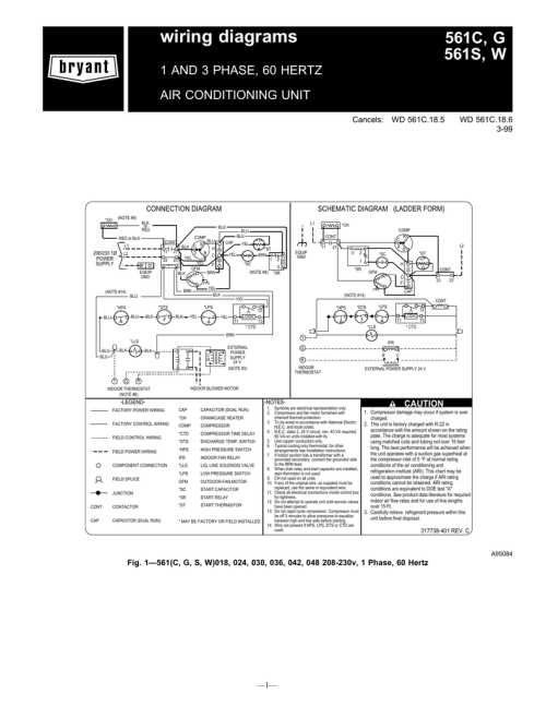 small resolution of wiring diagrams 561c g 561s w 1 and 3 phase 60 hertz air conditioning unit cancels wd 561c 18 5 wd 561c 18 6 3 99 schematic diagram ladder form