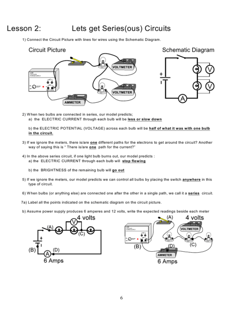 small resolution of lesson 2 lets get series ous circuits 1 connect the circuit picture with lines for wires using the schem atic diagram circuit picture schematic diagram