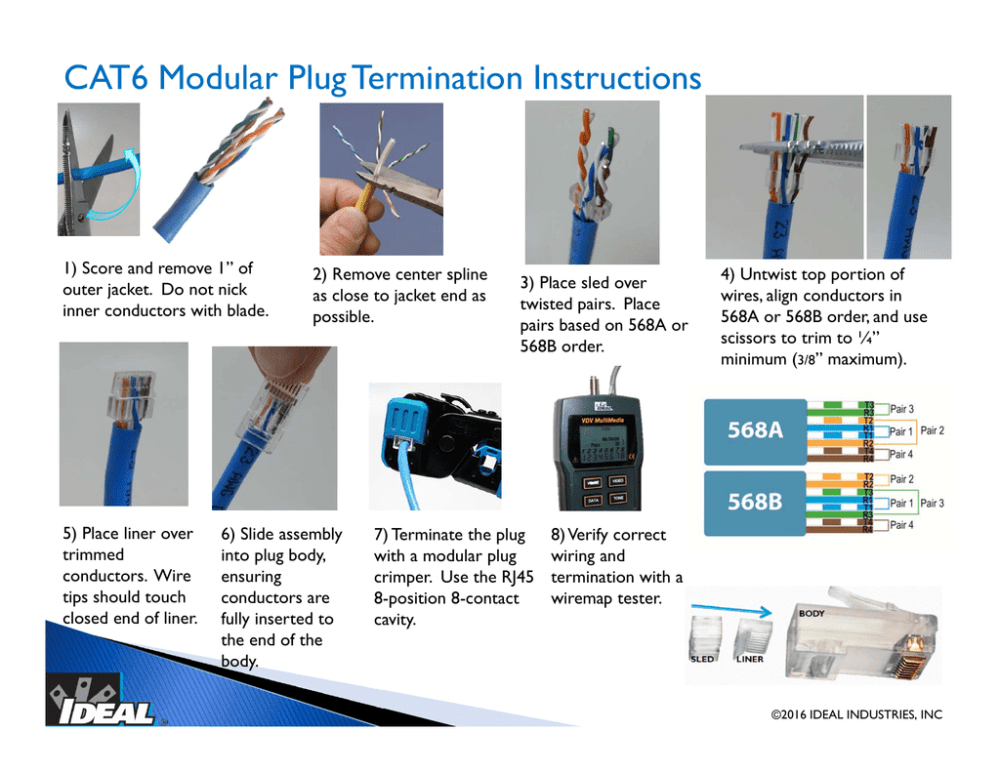 medium resolution of cat6 modular plug termination instructions 1 score and remove 1 of outer jacket do not nick inner conductors with blade 5 place liner over trimmed