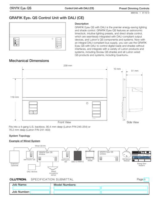 small resolution of grafik eye qs control unit with dali ce graffix eye wiring diagram