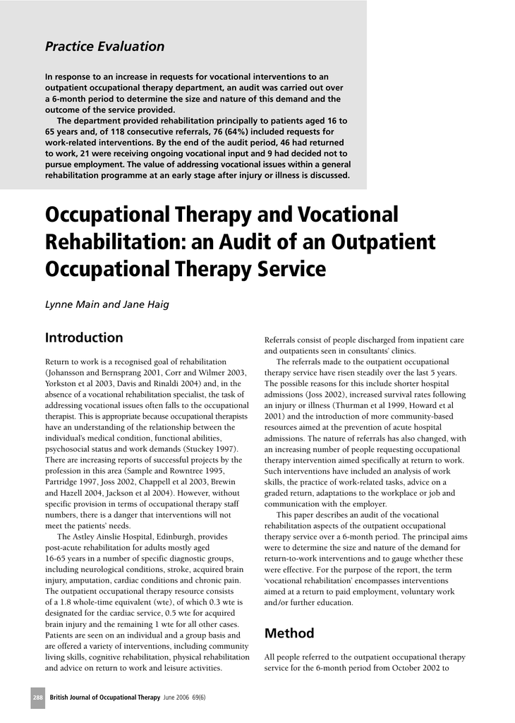 Occupational Therapy and Vocational Rehabilitation: an