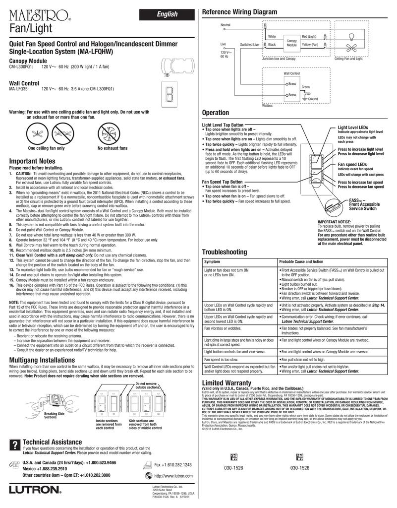 hight resolution of maestro quiet fan speed control and halogen incandescentmaestro single location wiring diagram 15