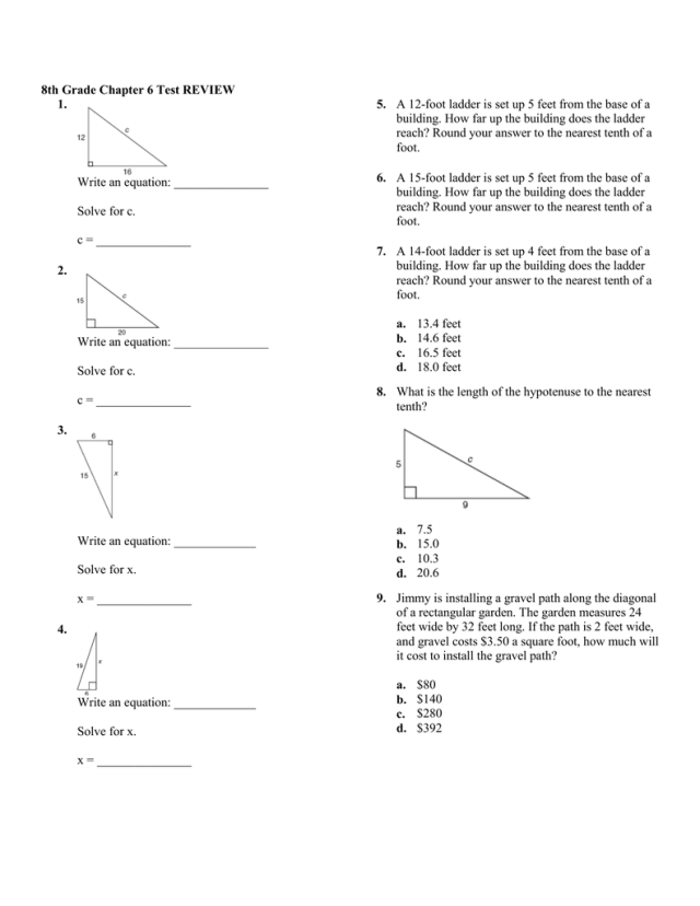 24th Grade Chapter 24 Test REVIEW 24. Write an equation: Solve for c