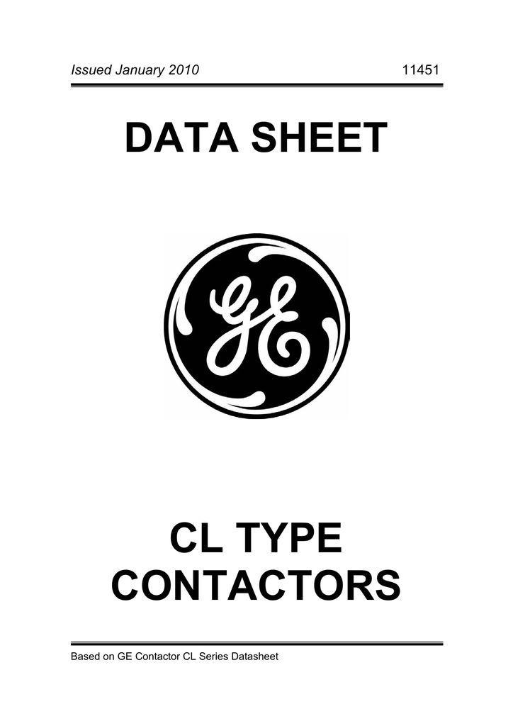 DATA SHEET CL TYPE CONTACTORS