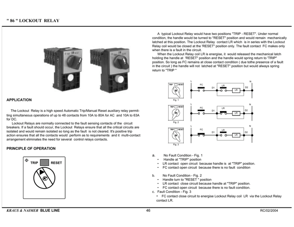medium resolution of 86 lockout relay a typical lockout relay would have two positions trip reset under normal condition the handle would be turned to reset position