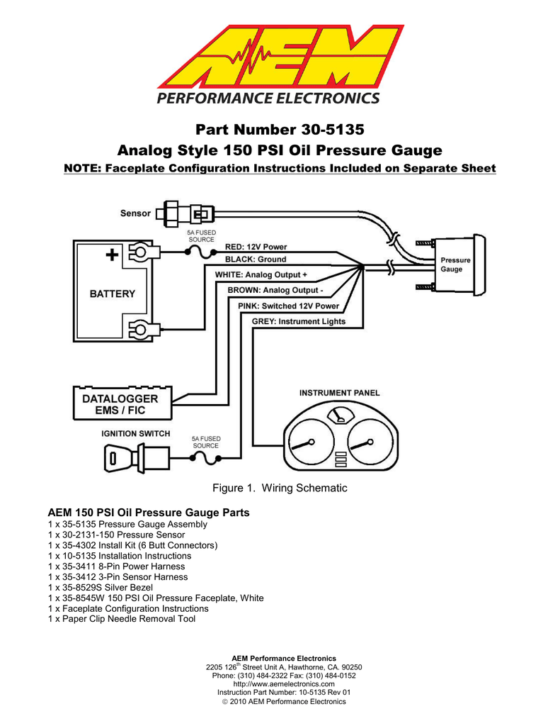 hight resolution of part number 30 5135 analog style 150 psi oil pressure gauge aem oil pressure sensor wiring