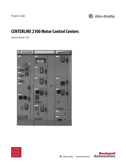 small resolution of program guide centerline 2100 motor control centers bulletin number 2100 about this publication the centerline 2100 motor control center program guide is