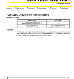 2009 09 circulate to sales manager accounting service manager technician parts manager fuel supply module fsm troubleshooting models affected models  [ 791 x 1024 Pixel ]