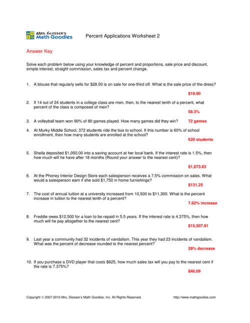 small resolution of Sales Tax And Discount Worksheet Answer Key - Nidecmege