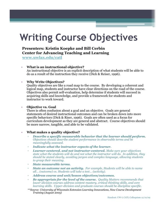 W i i C Obj i Writing Course Objectives