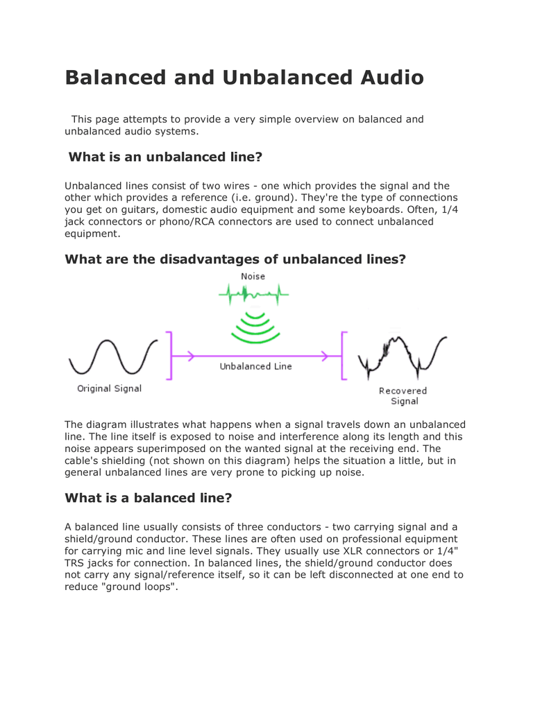 hight resolution of balanced and unbalanced audio this page attempts to provide a very simple overview on balanced and unbalanced audio systems what is an unbalanced line