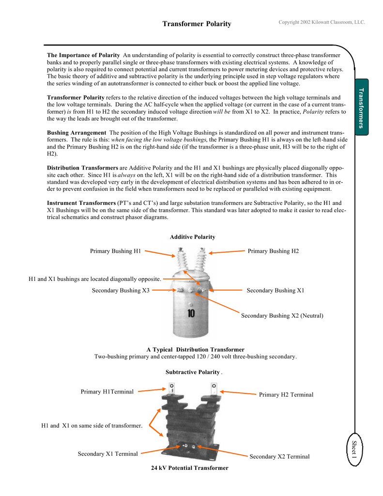 hight resolution of the importance of polarity an understanding of polarity is essential to correctly construct three phase transformer banks and to properly parallel single or