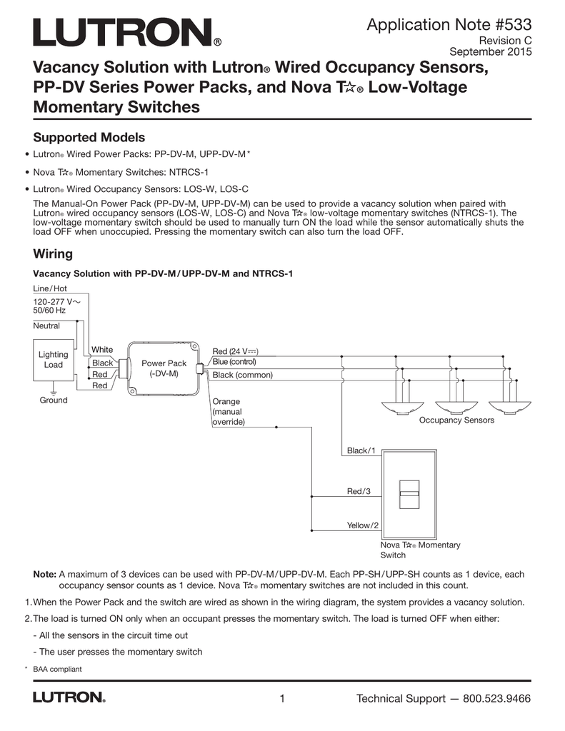 hight resolution of vacancy solution with lutron wired occupancy sensors pp lutron occupancy sensor wiring diagram and instructions