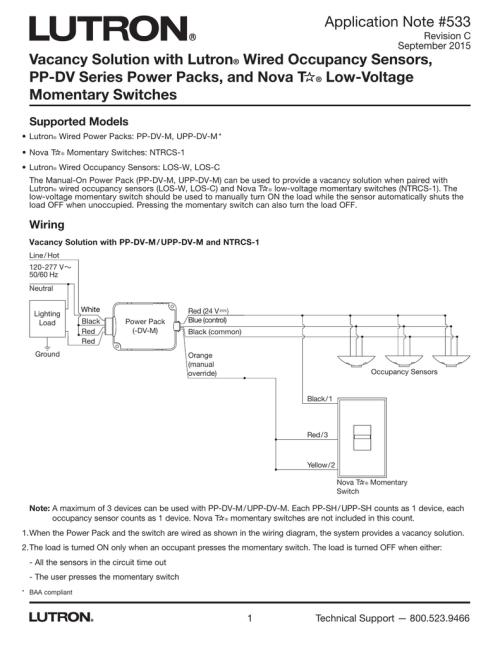 small resolution of vacancy solution with lutron wired occupancy sensors pp lutron occupancy sensor wiring diagram and instructions