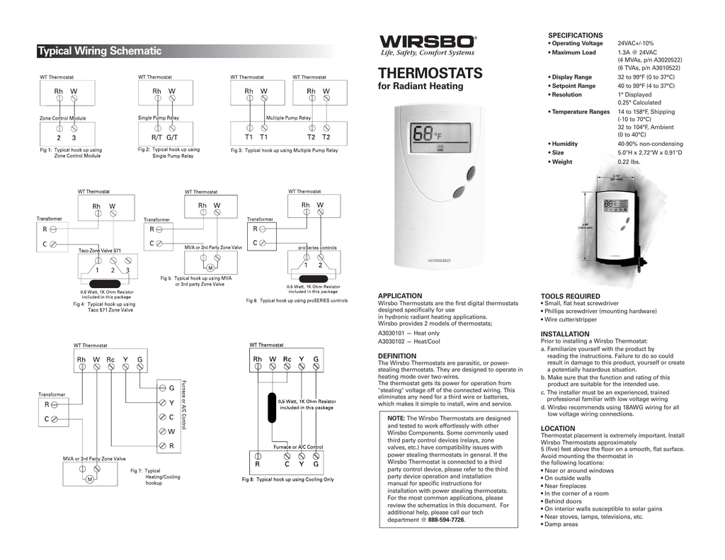 hight resolution of specifications operating voltage maximum load typical wiring schematic thermostats for radiant heating display range setpoint range resolution