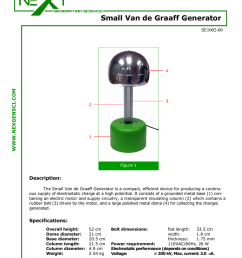 small van de graaff generator se1002 00 www nexgensci com 4 3 2 1 figure 1 description the small van de graaff generator is a compact efficient device for  [ 791 x 1024 Pixel ]