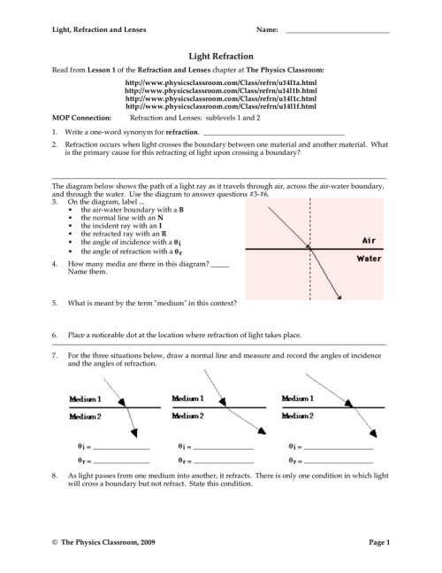 small resolution of Light Refraction - The Physics Classroom