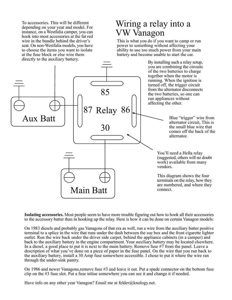 medium resolution of relay 85 30 86 87 aux batt main batt wiring a relay into a vw wiring diagram