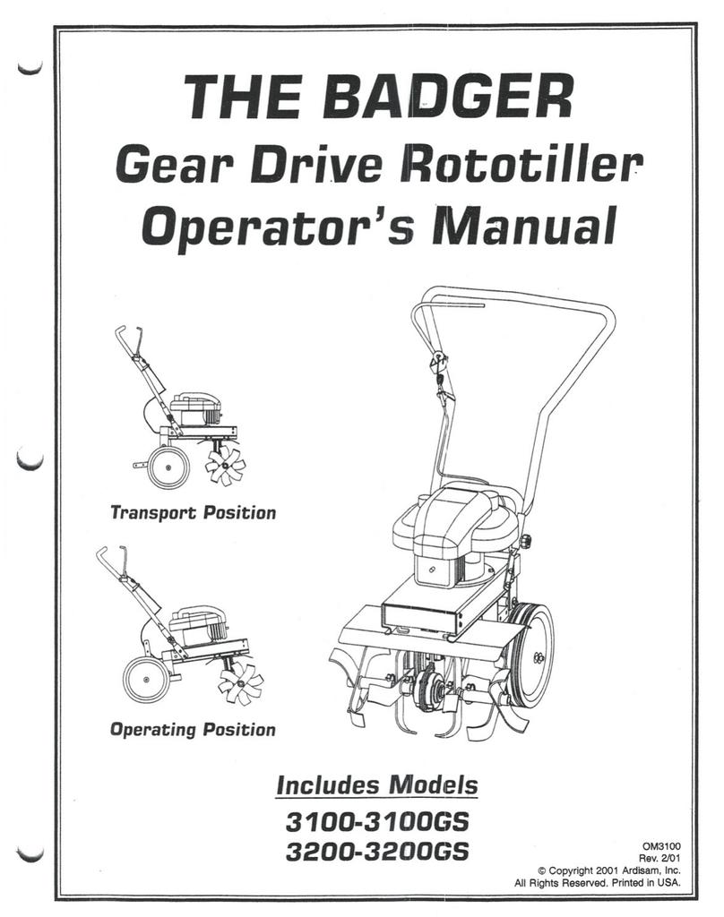THE BADGER Gear Drive Rototiller Operator`s Manual