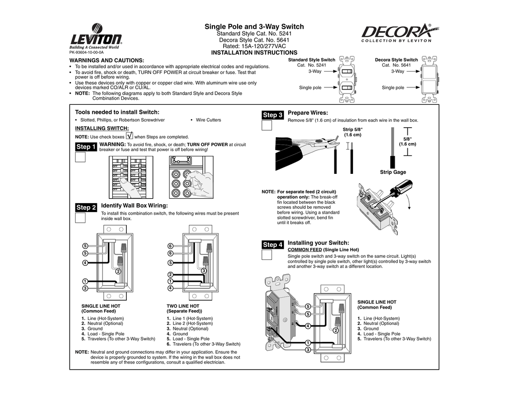 hight resolution of single pole and 3 way switch standard style cat no 5241 decora style cat no 5641 rated 15a 120 277vac installation instructions pk 93604 10 00 0a