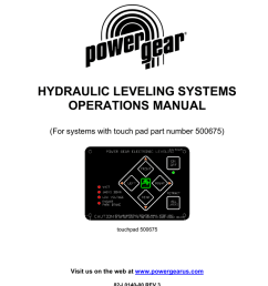 hydraulic leveling systems operations manual for systems with touch pad part number 500675 touchpad 500675 visit us on the web at www powergearus com  [ 791 x 1024 Pixel ]