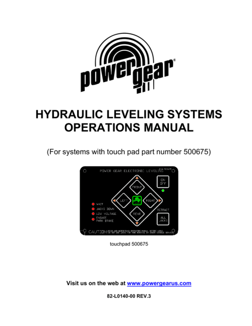 small resolution of hydraulic leveling systems operations manual for systems with touch pad part number 500675 touchpad 500675 visit us on the web at www powergearus com
