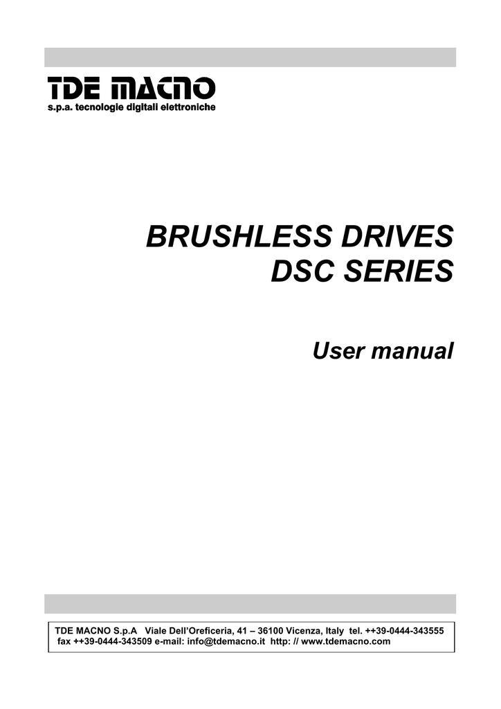 BRUSHLESS DRIVES DSC SERIES
