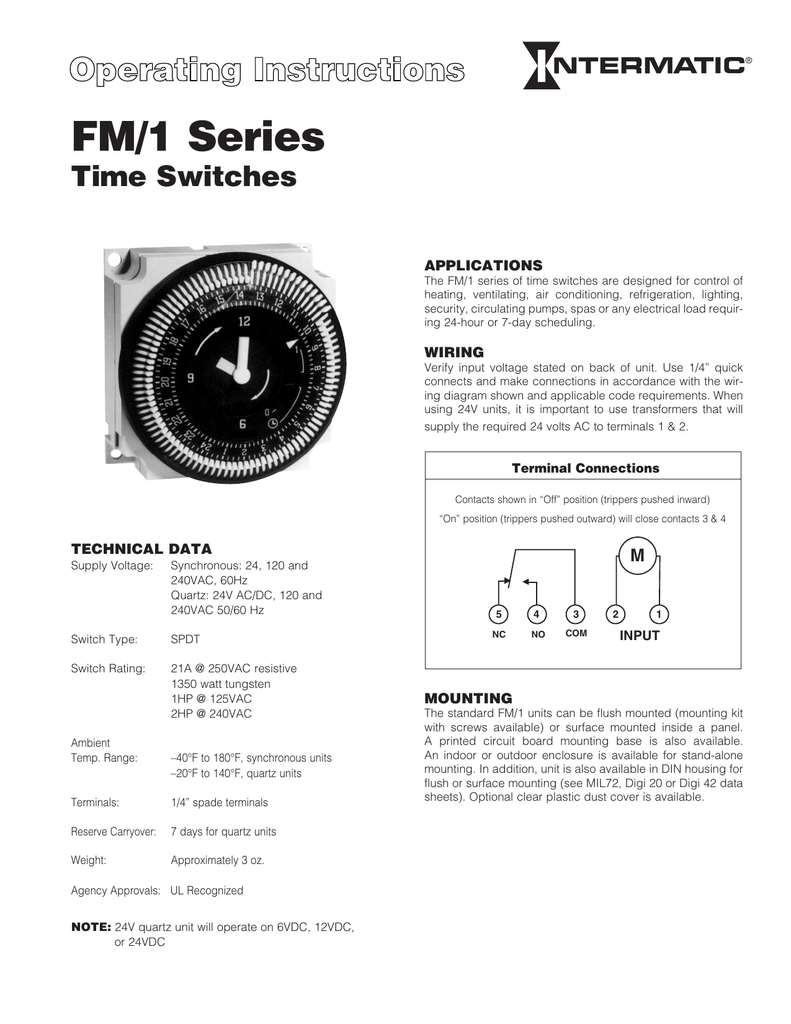 medium resolution of fm 1 series time switches applications the fm 1 series of time switches are designed for control of heating ventilating air conditioning refrigeration