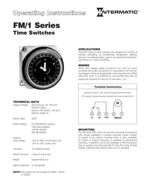 small resolution of fm 1 series time switches applications the fm 1 series of time switches are designed for control of heating ventilating air conditioning refrigeration
