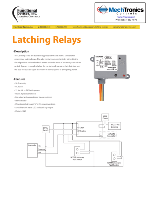 small resolution of  latching relays description the latching series are activated by pulse commands from a controller or momentary switch closure