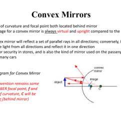 convex mirrors center of curvature and focal point both located behind mirror the image for a convex mirror is always virtual and upright compared to the  [ 1024 x 768 Pixel ]