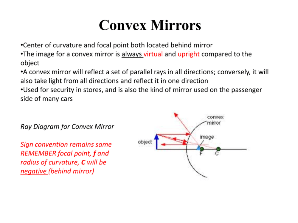 medium resolution of convex mirrors center of curvature and focal point both located behind mirror the image for a convex mirror is always virtual and upright compared to the