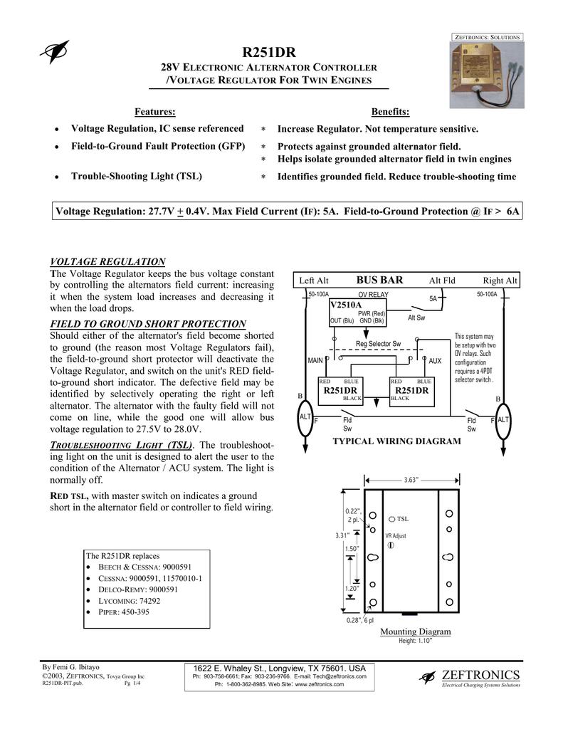 medium resolution of zeftronics r251dr 24volt voltage regulator diagram dual field alternator and electronic voltage regulator