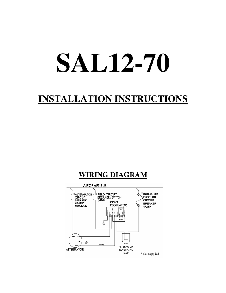 medium resolution of sal12 70 installation instructions wiring diagram warranty plane power ltd warranties its alternators and voltage regulators for a two year period from