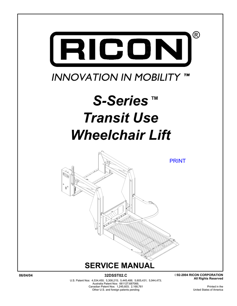 Ricon S Series Wheel Chair Lift Wiring Diagram : 46 Wiring