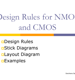 design rules for nmos and cmos design rules stick diagrams layout diagram examples darshana sankhe design rules introduction design rules are a  [ 1024 x 768 Pixel ]
