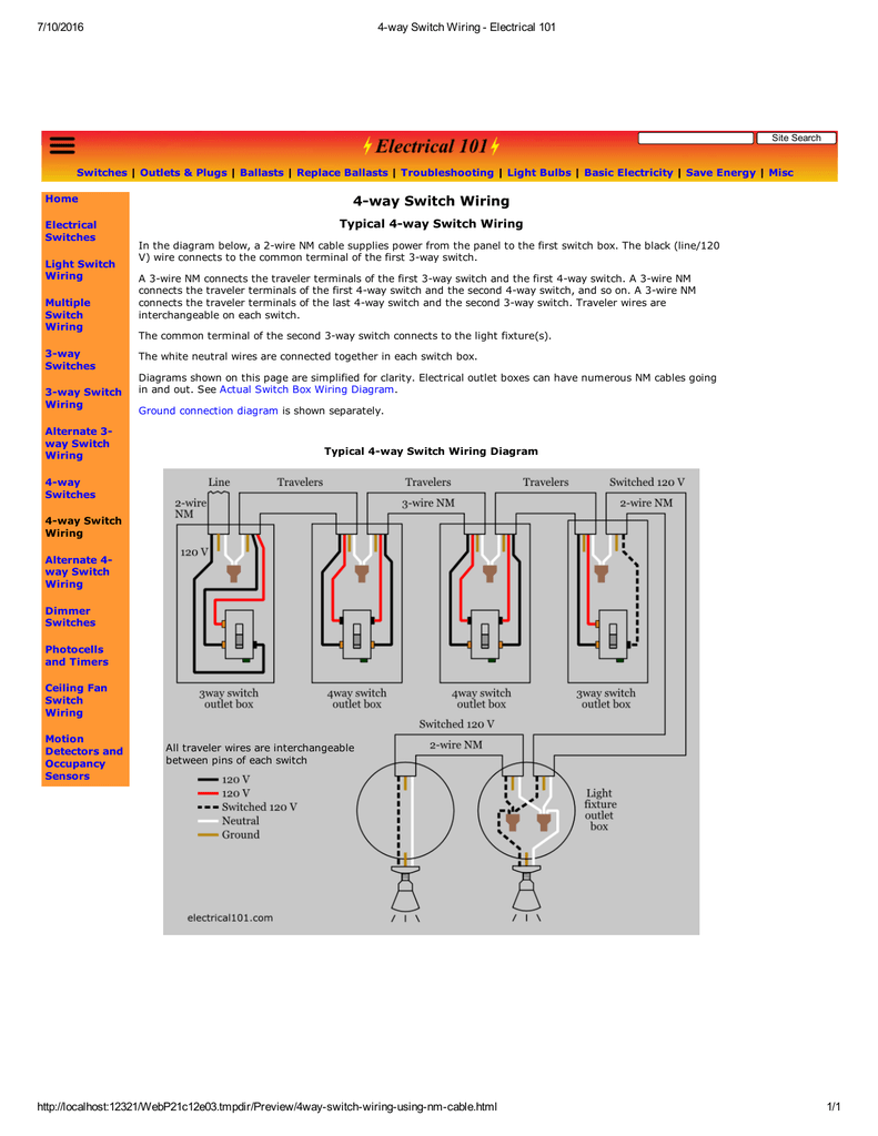 medium resolution of 4way switch wiring typical 4 way switch wiring in the diagram below a 2 wire nm cable