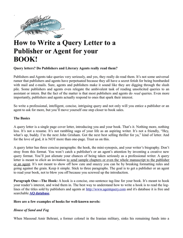 Query Letter To A Publisher Or Agent
